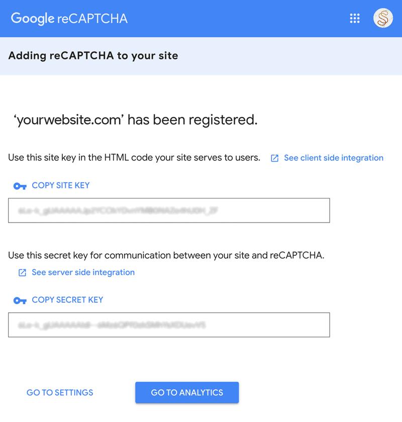 Google reCaptcha site and secret key